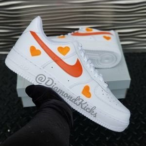 Custom Nike Air Force 1 Custom Hearts White Orange